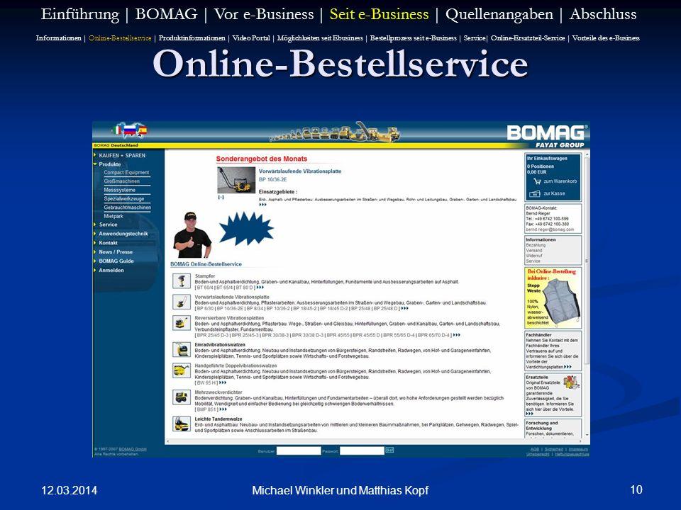 12.03.2014 10 Michael Winkler und Matthias Kopf Online-Bestellservice Einführung | BOMAG | Vor e-Business | Seit e-Business | Quellenangaben | Abschlu