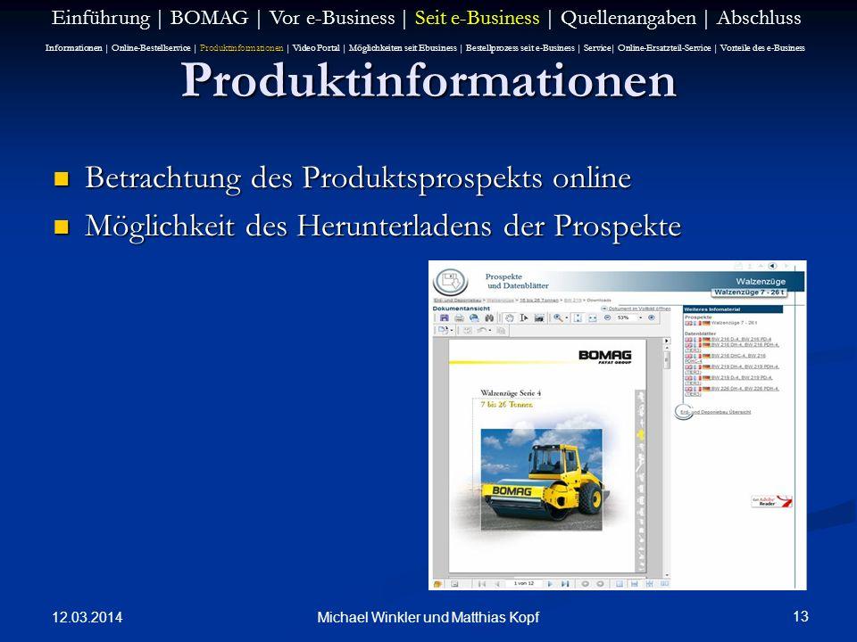 12.03.2014 13 Michael Winkler und Matthias Kopf Produktinformationen Betrachtung des Produktsprospekts online Betrachtung des Produktsprospekts online