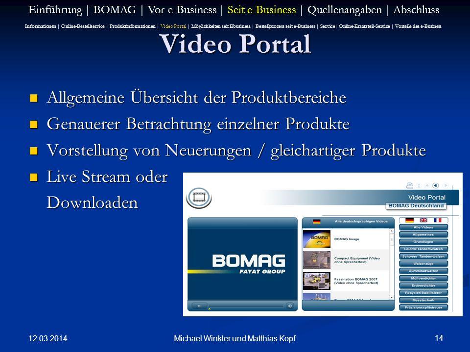12.03.2014 14 Michael Winkler und Matthias Kopf Video Portal Allgemeine Übersicht der Produktbereiche Allgemeine Übersicht der Produktbereiche Genauer