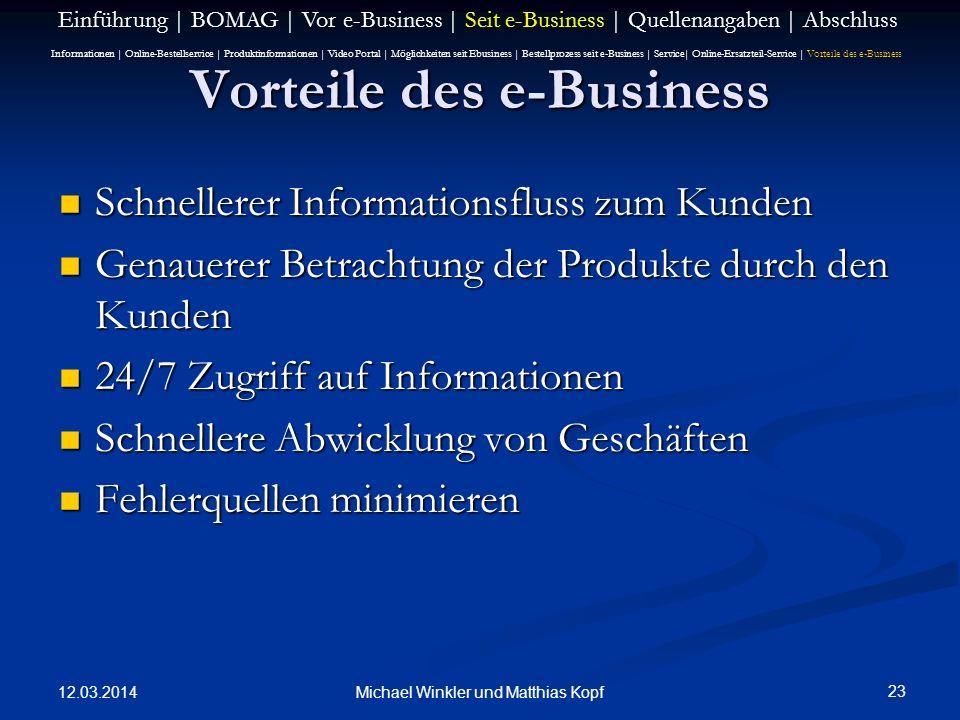 12.03.2014 23 Michael Winkler und Matthias Kopf Vorteile des e-Business Schnellerer Informationsfluss zum Kunden Schnellerer Informationsfluss zum Kun
