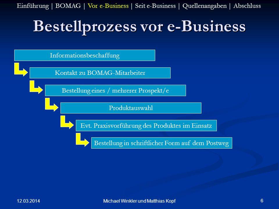 12.03.2014 6 Michael Winkler und Matthias Kopf Bestellprozess vor e-Business Informationsbeschaffung Kontakt zu BOMAG-Mitarbeiter Bestellung eines / m
