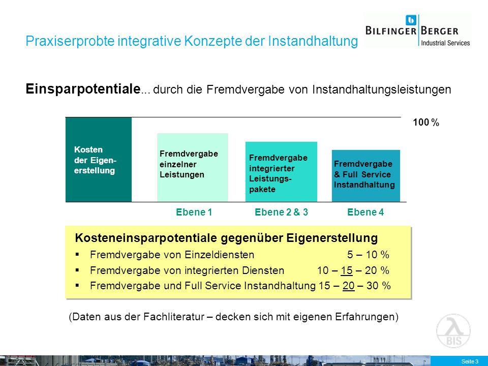 Seite 3 Einsparpotentiale... durch die Fremdvergabe von Instandhaltungsleistungen Kosteneinsparpotentiale gegenüber Eigenerstellung Fremdvergabe von E