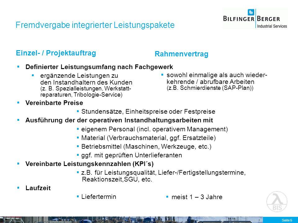 Seite 5 Fremdvergabe integrierter Leistungspakete Einzel- / Projektauftrag Rahmenvertrag Definierter Leistungsumfang nach Fachgewerk ergänzende Leistu
