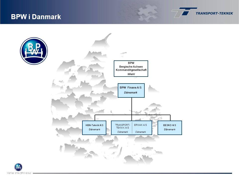 Member of the BPW-Group BPW i Danmark BPW Bergische Achsen Kommanditgesellschaft Wiehl BPW Finans A/S Dänemark HBN-Teknik A/S Dänemark BESKO A/S Dânem
