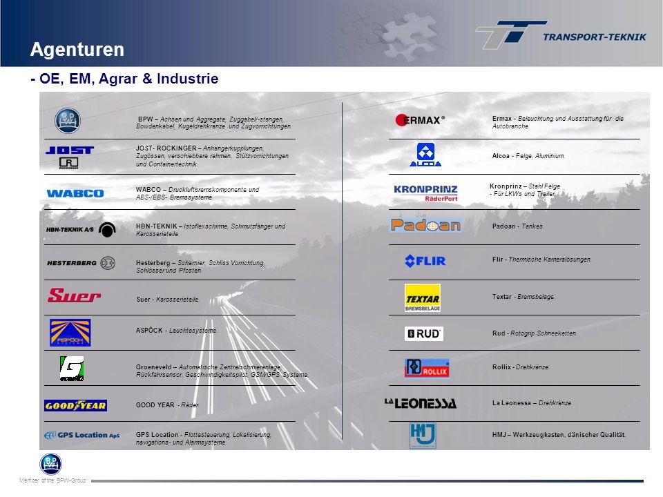 Member of the BPW-Group Agenturen BPW – Achsen und Aggregate, Zuggabel/-stangen, Bowdenkabel, Kugeldrehkränze und Zugvorrichtungen. JOST- ROCKINGER –