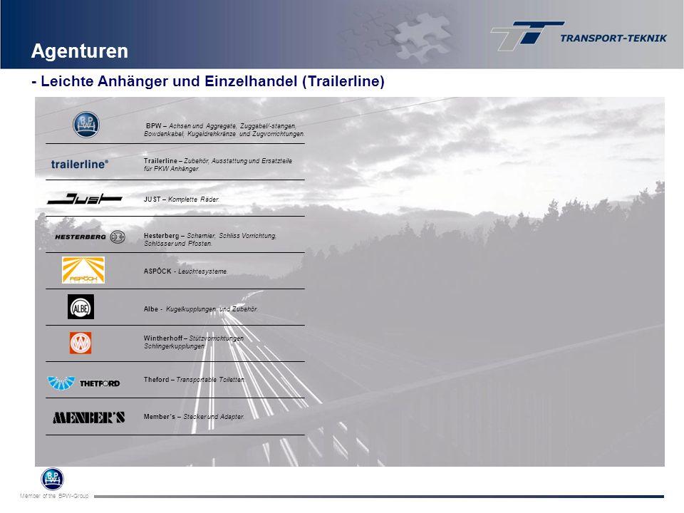 Member of the BPW-Group Agenturen BPW – Achsen und Aggregate, Zuggabel/-stangen, Bowdenkabel, Kugeldrehkränze und Zugvorrichtungen. Hesterberg – Schar