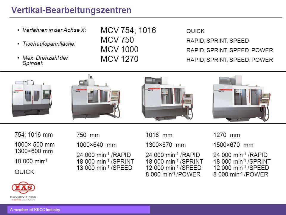 A member of KKCG Industry Vertikal-Bearbeitungszentren Verfahren in der Achse X: Tischaufspannfläche: Max. Drehzahl der Spindel: MCV 754; 1016 QUICK M