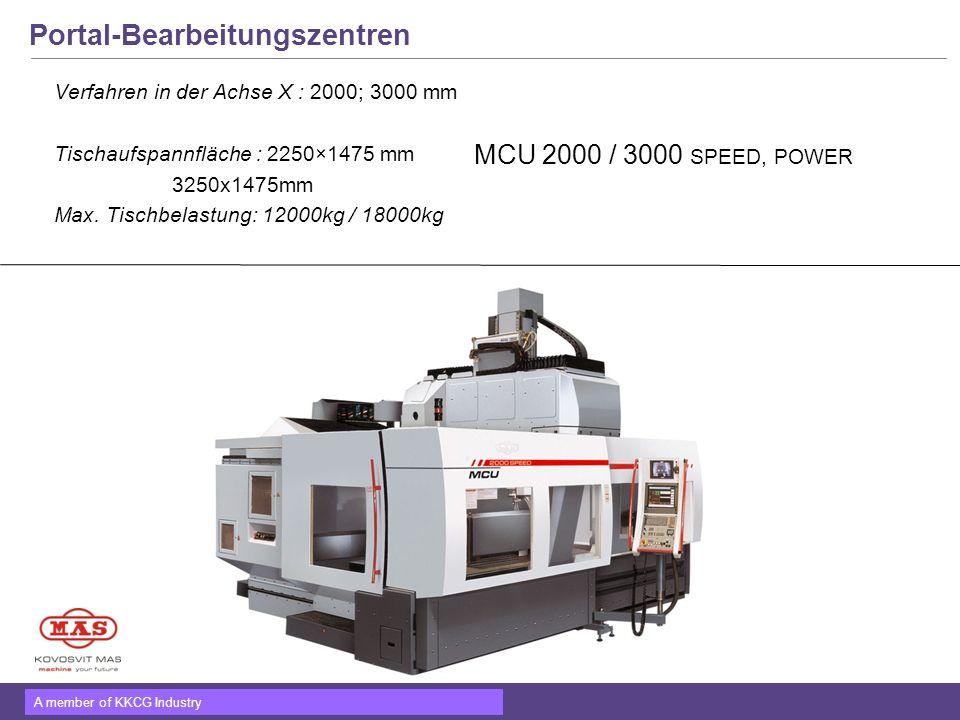 A member of KKCG Industry Portal-Bearbeitungszentren Verfahren in der Achse X : 2000; 3000 mm Tischaufspannfläche : 2250×1475 mm 3250x1475mm Max. Tisc
