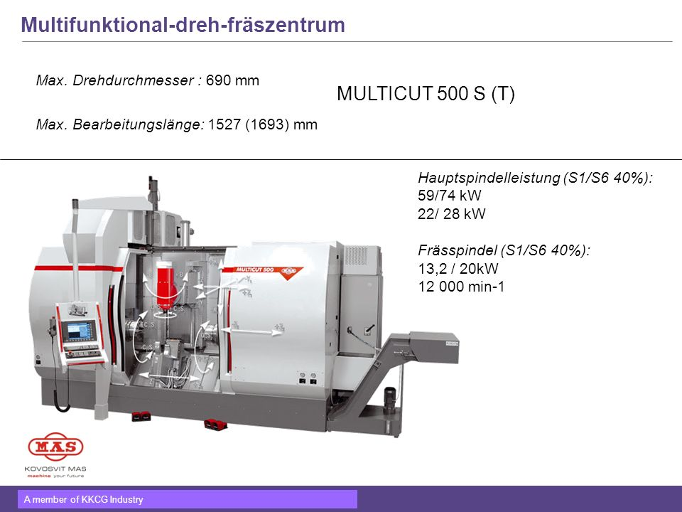 Multifunktional-dreh-fräszentrum Max. Drehdurchmesser : 690 mm Max. Bearbeitungslänge: 1527 (1693) mm MULTICUT 500 S (T) Hauptspindelleistung (S1/S6 4