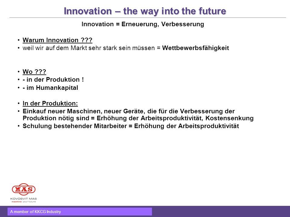 A member of KKCG Industry Innovation – the way into the future Innovation = Erneuerung, Verbesserung Warum Innovation ??? weil wir auf dem Markt sehr