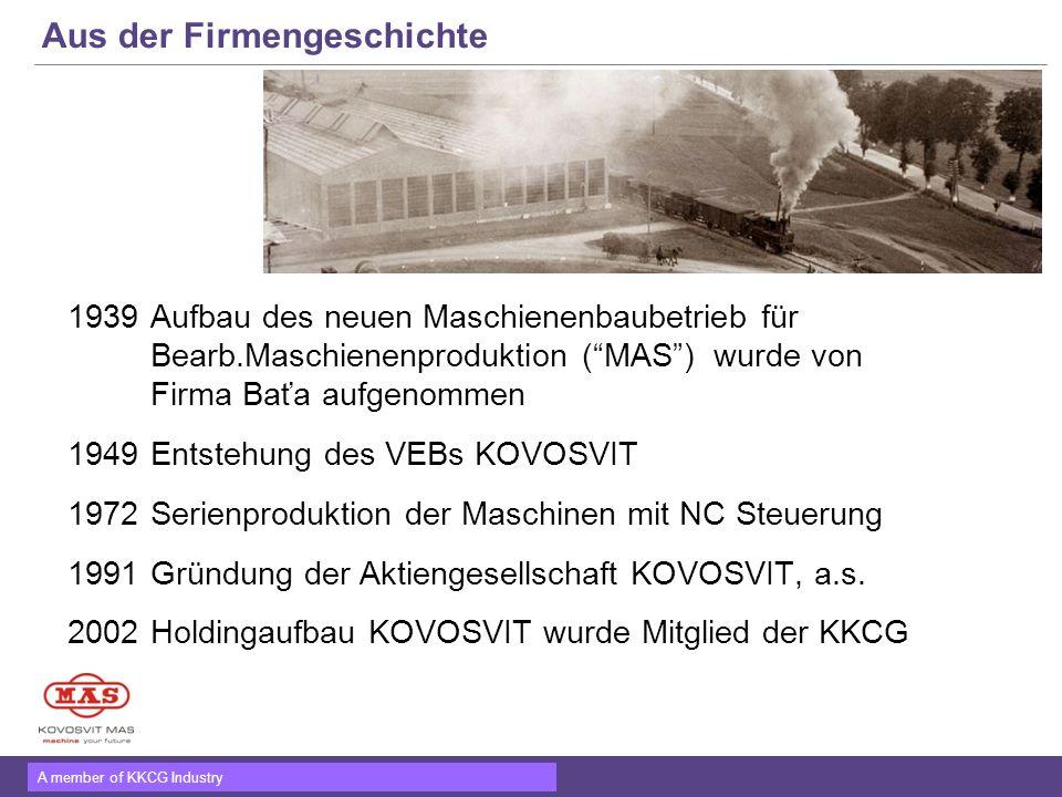 A member of KKCG Industry Aus der Firmengeschichte 1939Aufbau des neuen Maschienenbaubetrieb für Bearb.Maschienenproduktion (MAS) wurde von Firma Baťa