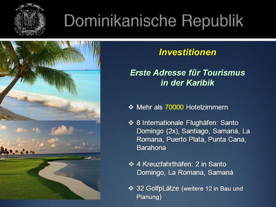 Investitionen Erste Adresse für Tourismus in der Karibik 32 GolfpLätze ( weitere 12 in Bau und Planung ) 32 GolfpLätze ( weitere 12 in Bau und Planung