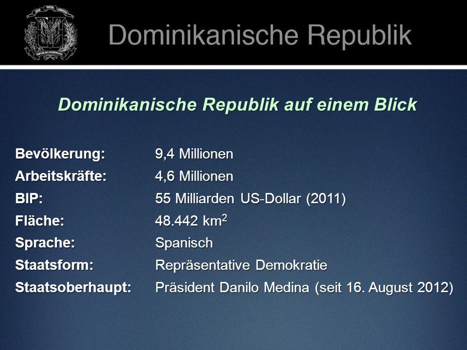 Dominikanische Republik auf einem Blick Bevölkerung: 9,4 Millionen Arbeitskräfte: 4,6 Millionen BIP: 55 Milliarden US-Dollar (2011) Fläche: 48.442 km