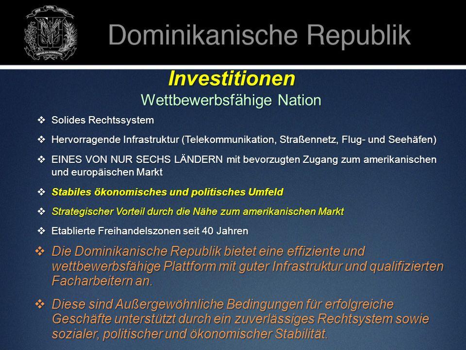 Investitionen Wettbewerbsfähige Nation Solides Rechtssystem Solides Rechtssystem Hervorragende Infrastruktur (Telekommunikation, Straßennetz, Flug- un