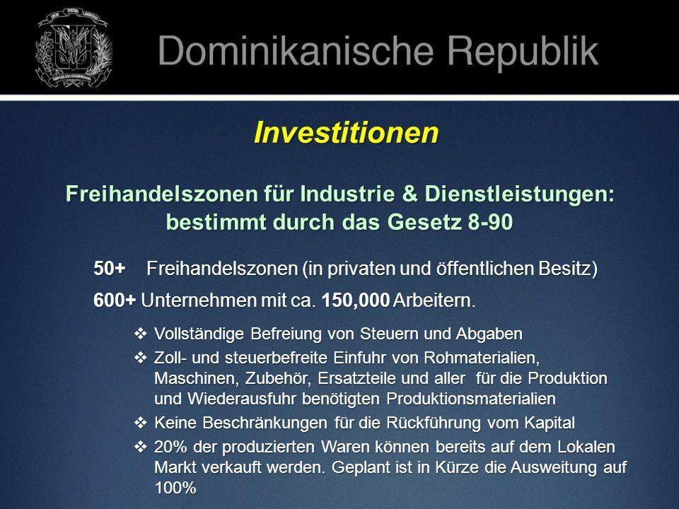 Investitionen Investitionen Freihandelszonen für Industrie & Dienstleistungen: bestimmt durch das Gesetz 8-90 50+ Freihandelszonen (in privaten und öf