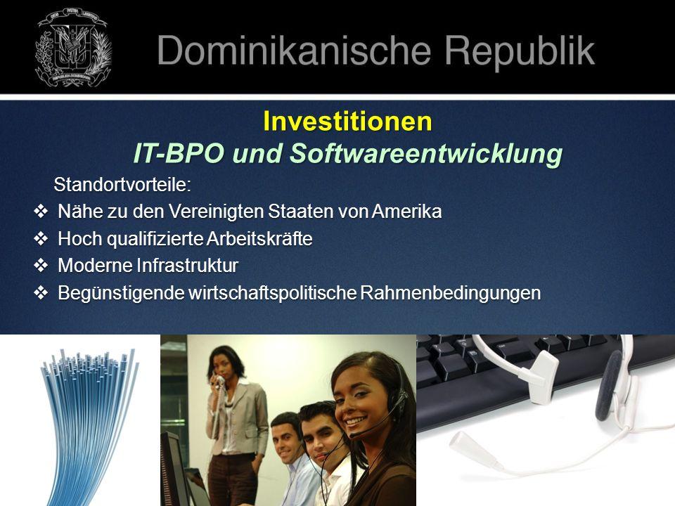 Investitionen IT-BPO und Softwareentwicklung Standortvorteile: Standortvorteile: Nähe zu den Vereinigten Staaten von Amerika Nähe zu den Vereinigten S