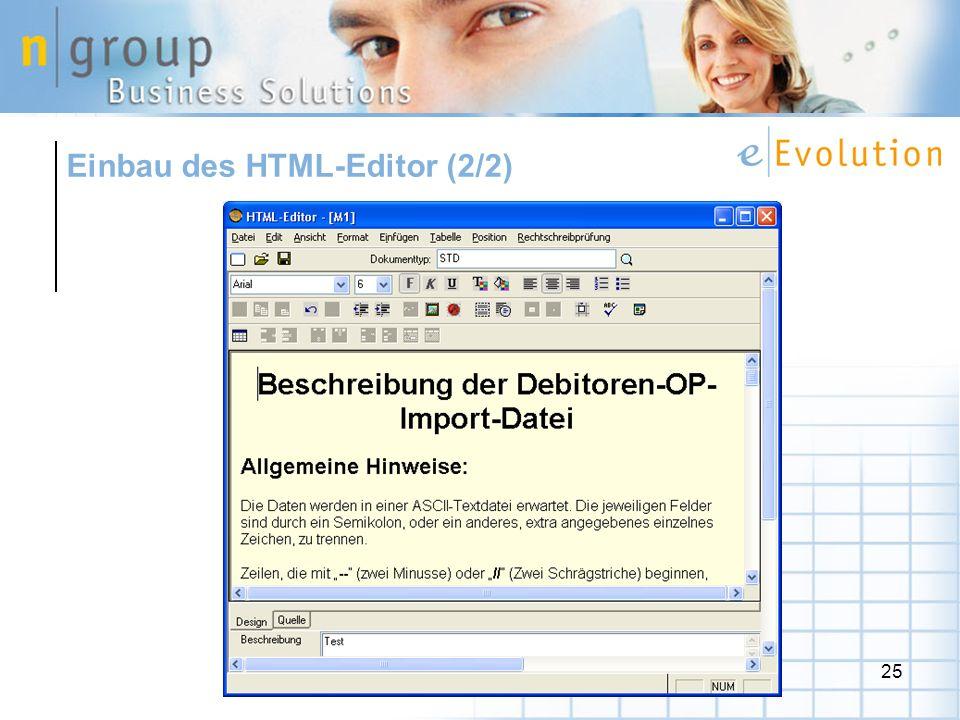 25 Einbau des HTML-Editor (2/2)