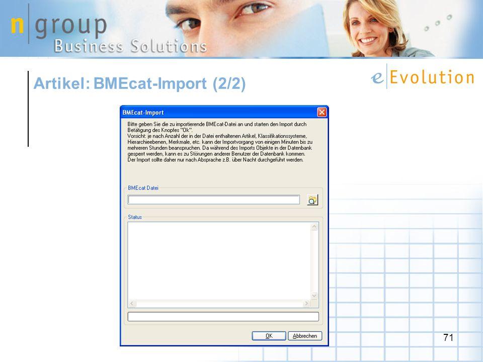 71 Artikel: BMEcat-Import (2/2)