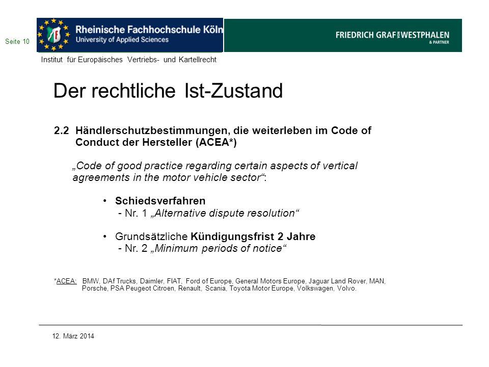 Der rechtliche Ist-Zustand 2.2 Händlerschutzbestimmungen, die weiterleben im Code of Conduct der Hersteller (ACEA*) Code of good practice regarding ce