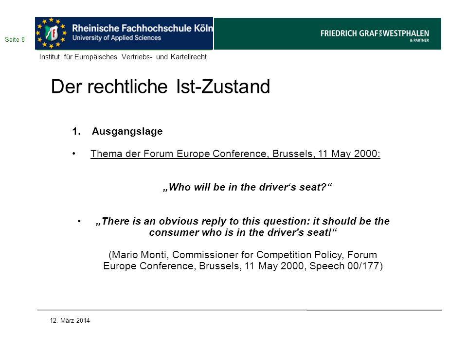Die neuen Verträge Fazit: 1.Die BGH-Entscheidung vom 30.3.2011 ist problematisch und das Abstellen auf einen vorgelagerten Markt nicht zu rechtfertigen.