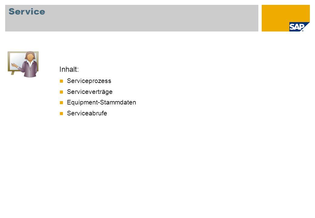 Inhalt: Serviceprozess Serviceverträge Equipment-Stammdaten Serviceabrufe Service