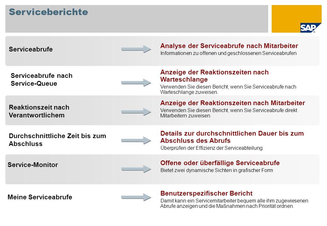 Serviceberichte Durchschnittliche Zeit bis zum Abschluss Service-Monitor Reaktionszeit nach Verantwortlichem Serviceabrufe Analyse der Serviceabrufe n