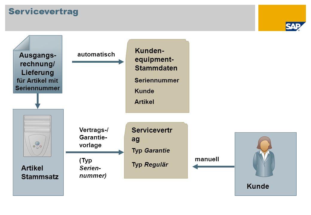 Servicevertr ag Typ Garantie Servicevertrag Ausgangs- rechnung/ Lieferung für Artikel mit Seriennummer Kunde automatisch manuell Kunden- equipment- St