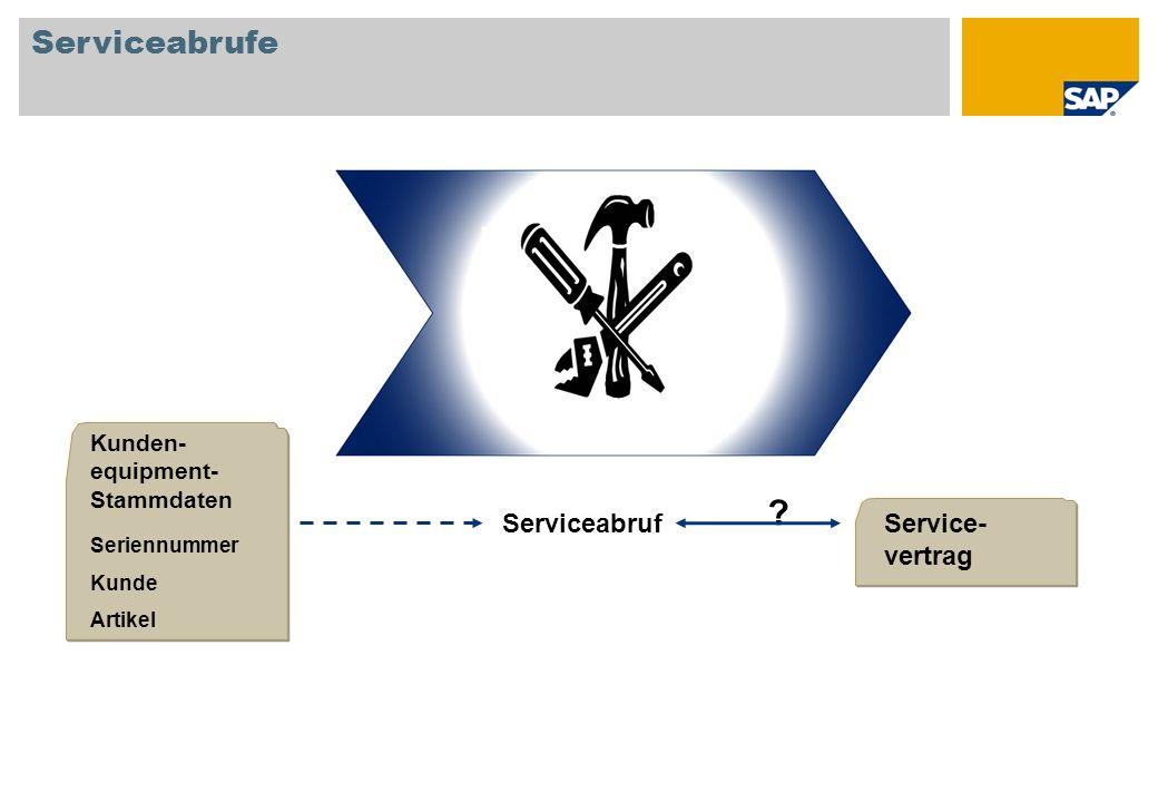 Serviceabrufe ServiceabrufService- vertrag Kunden- equipment- Stammdaten Seriennummer Kunde Artikel ?