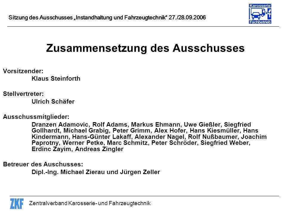 Zentralverband Karosserie- und Fahrzeugtechnik Sitzung des Ausschusses Instandhaltung und Fahrzeugtechnik 27./28.09.2006 Die nächste Ausschuss-Sitzung soll im März 2007 beim KTI in Kassel stattfinden.
