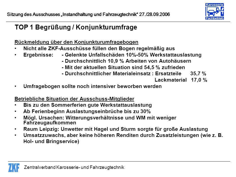 Zentralverband Karosserie- und Fahrzeugtechnik Sitzung des Ausschusses Instandhaltung und Fahrzeugtechnik 27./28.09.2006 TOP 1 Begrüßung / Konjunkturu