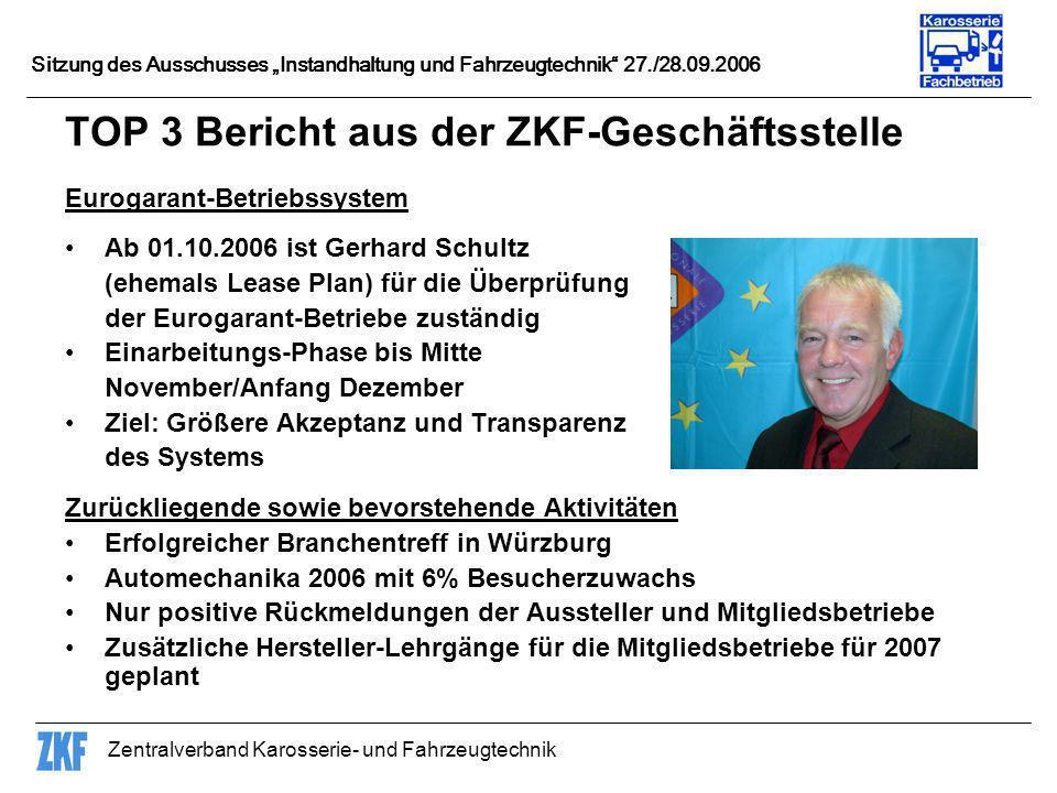 Zentralverband Karosserie- und Fahrzeugtechnik Sitzung des Ausschusses Instandhaltung und Fahrzeugtechnik 27./28.09.2006 TOP 3 Bericht aus der ZKF-Ges