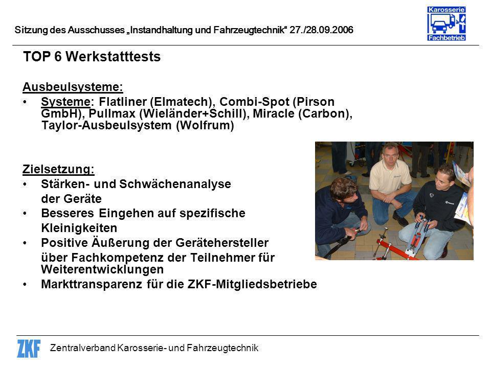 Zentralverband Karosserie- und Fahrzeugtechnik Sitzung des Ausschusses Instandhaltung und Fahrzeugtechnik 27./28.09.2006 TOP 6 Werkstatttests Ausbeuls