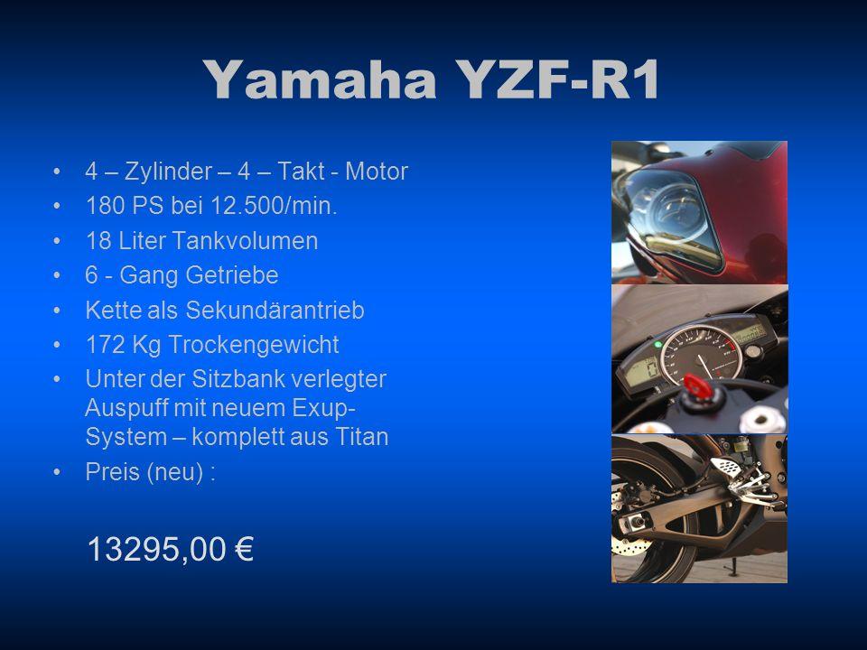 Yamaha YZF-R6 4 – Zylinder – 4 – Takt – Motor 132 PS bei 1300/min 17 Liter Tankvolumen 6 - Gang Getriebe Kette als Sekundärantrieb 162 Kg Trockengewicht Aluminium Deltabox III- Fahrwerk im innovativen Druckgussverfahren gefertigt Preis (neu) : 9995,00