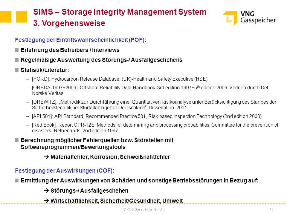 © VNG Gasspeicher GmbH13 Festlegung der Eintrittswahrscheinlichkeit (POF): Erfahrung des Betreibers / Interviews Regelmäßige Auswertung des Störungs-/