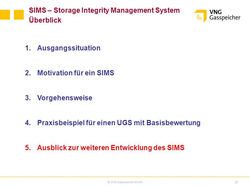 © VNG Gasspeicher GmbH20 SIMS – Storage Integrity Management System Überblick 1.Ausgangssituation 2.Motivation für ein SIMS 3.Vorgehensweise 4.Praxisb