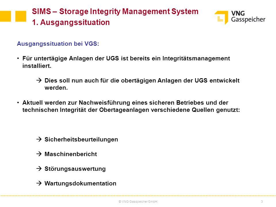 © VNG Gasspeicher GmbH3 SIMS – Storage Integrity Management System 1. Ausgangssituation Ausgangssituation bei VGS: Für untertägige Anlagen der UGS ist