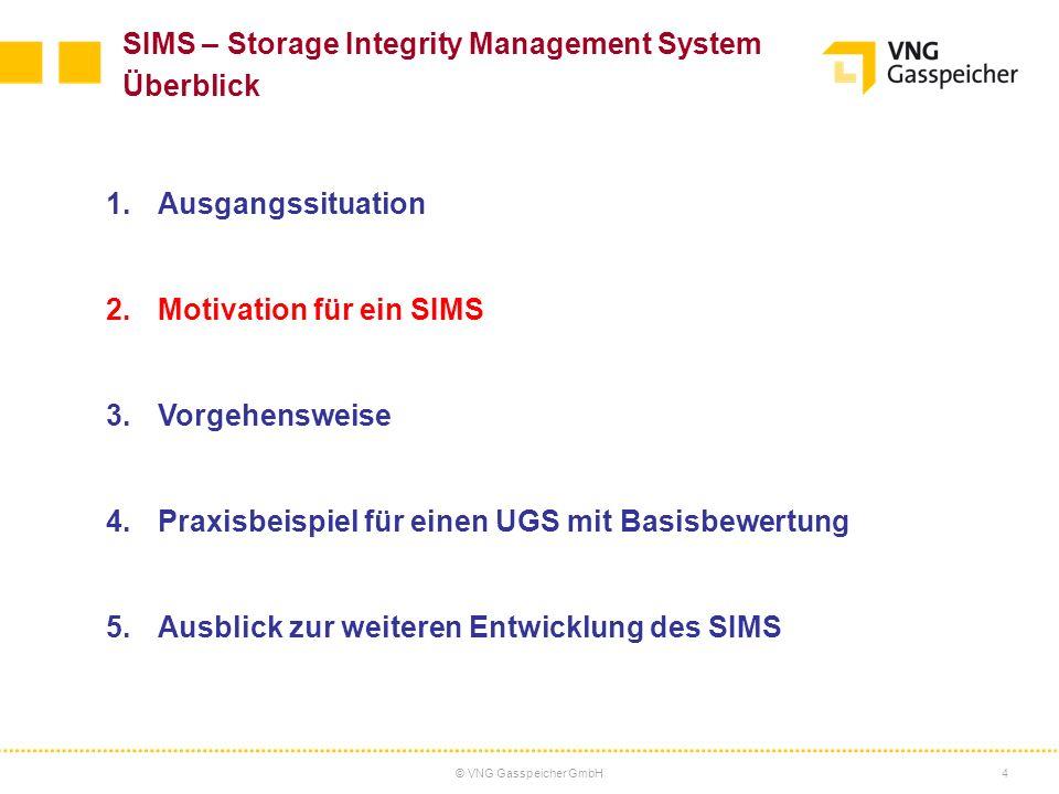 © VNG Gasspeicher GmbH4 SIMS – Storage Integrity Management System Überblick 1.Ausgangssituation 2.Motivation für ein SIMS 3.Vorgehensweise 4.Praxisbe