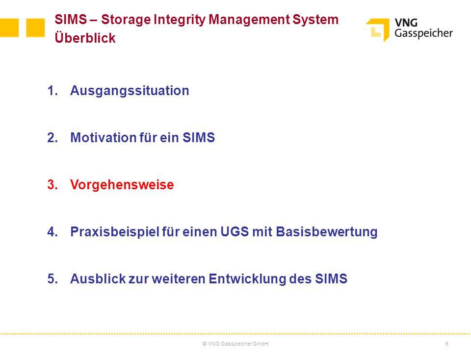 © VNG Gasspeicher GmbH6 SIMS – Storage Integrity Management System Überblick 1.Ausgangssituation 2.Motivation für ein SIMS 3.Vorgehensweise 4.Praxisbe