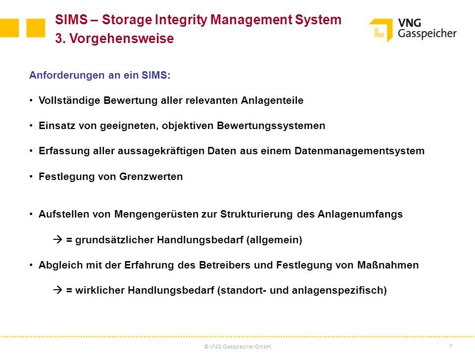© VNG Gasspeicher GmbH7 Anforderungen an ein SIMS: Vollständige Bewertung aller relevanten Anlagenteile Einsatz von geeigneten, objektiven Bewertungss