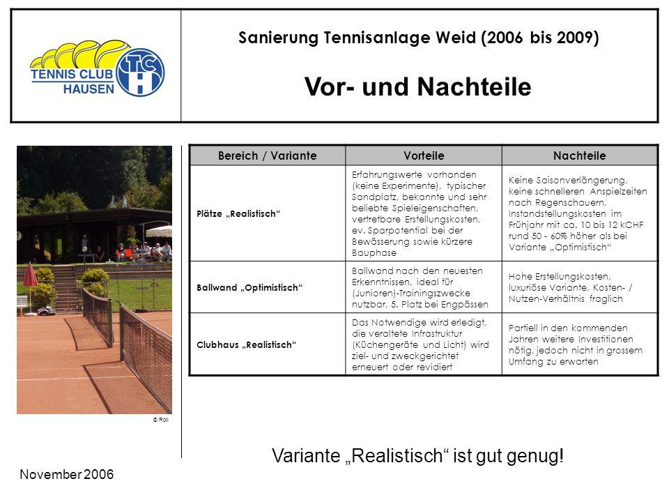 Sanierung Tennisanlage Weid (2006 bis 2009) © Roli November 2006 Vor- und Nachteile Variante Realistisch ist gut genug.