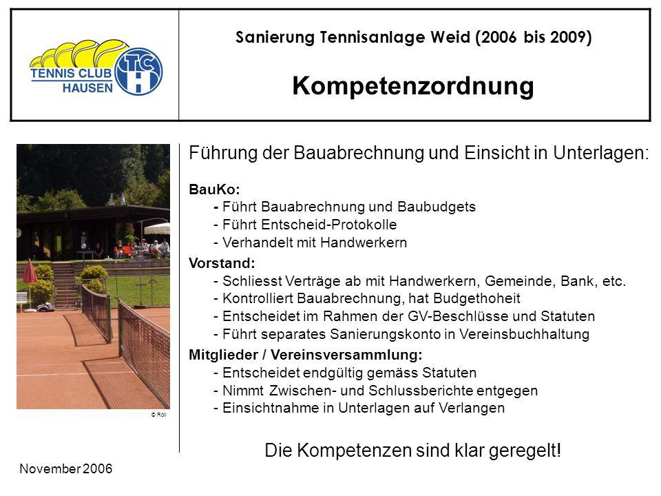 Sanierung Tennisanlage Weid (2006 bis 2009) © Roli November 2006 Kompetenzordnung Die Kompetenzen sind klar geregelt.
