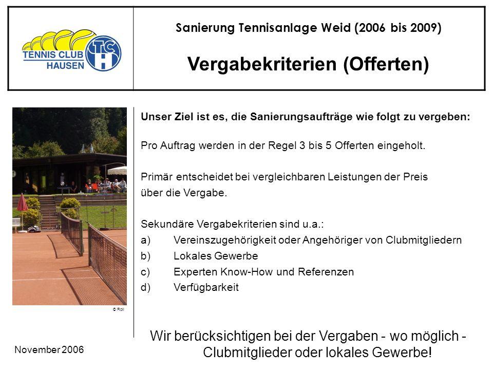 Sanierung Tennisanlage Weid (2006 bis 2009) © Roli November 2006 Vergabekriterien (Offerten) Wir berücksichtigen bei der Vergaben - wo möglich - Clubmitglieder oder lokales Gewerbe.