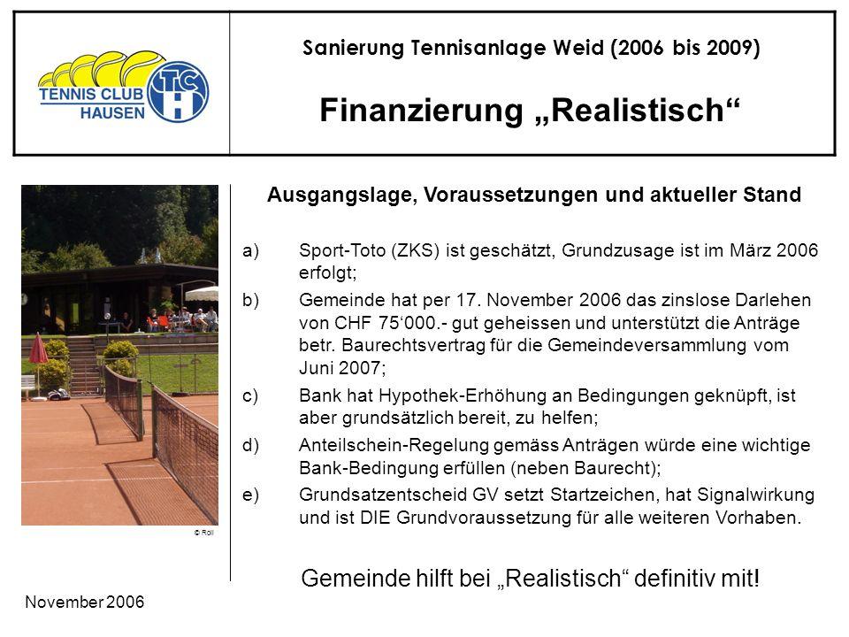 Sanierung Tennisanlage Weid (2006 bis 2009) © Roli November 2006 Finanzierung Realistisch Gemeinde hilft bei Realistisch definitiv mit.