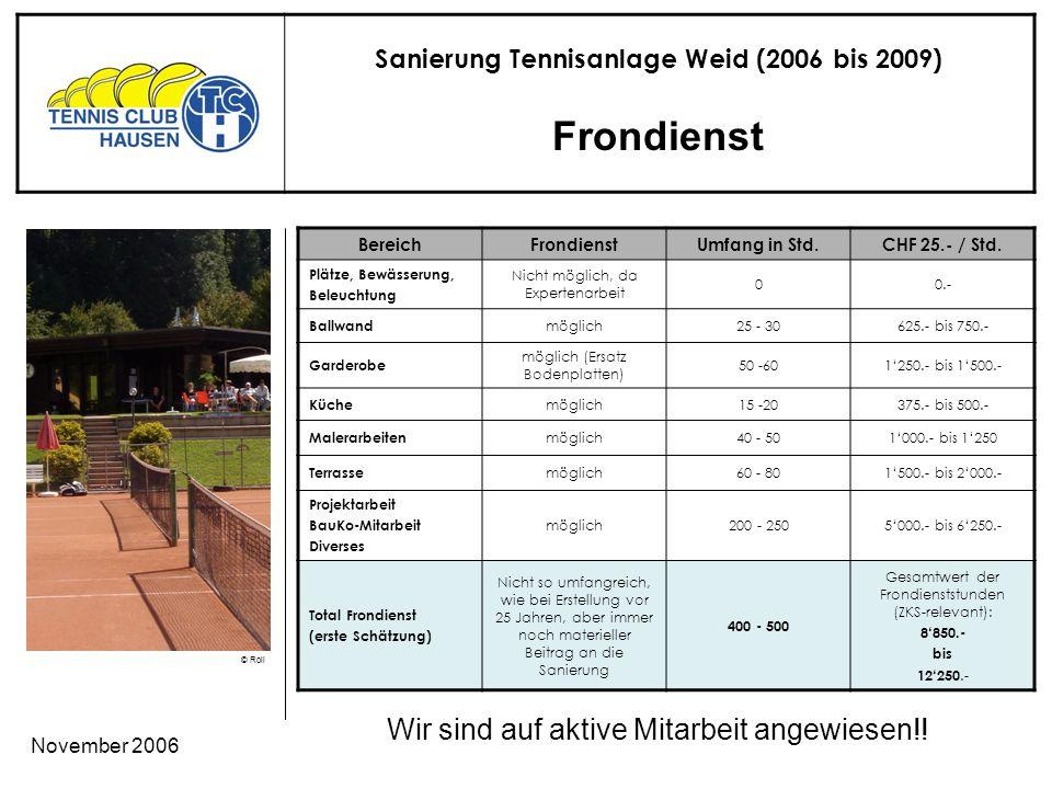 Sanierung Tennisanlage Weid (2006 bis 2009) © Roli November 2006 Frondienst Wir sind auf aktive Mitarbeit angewiesen!.