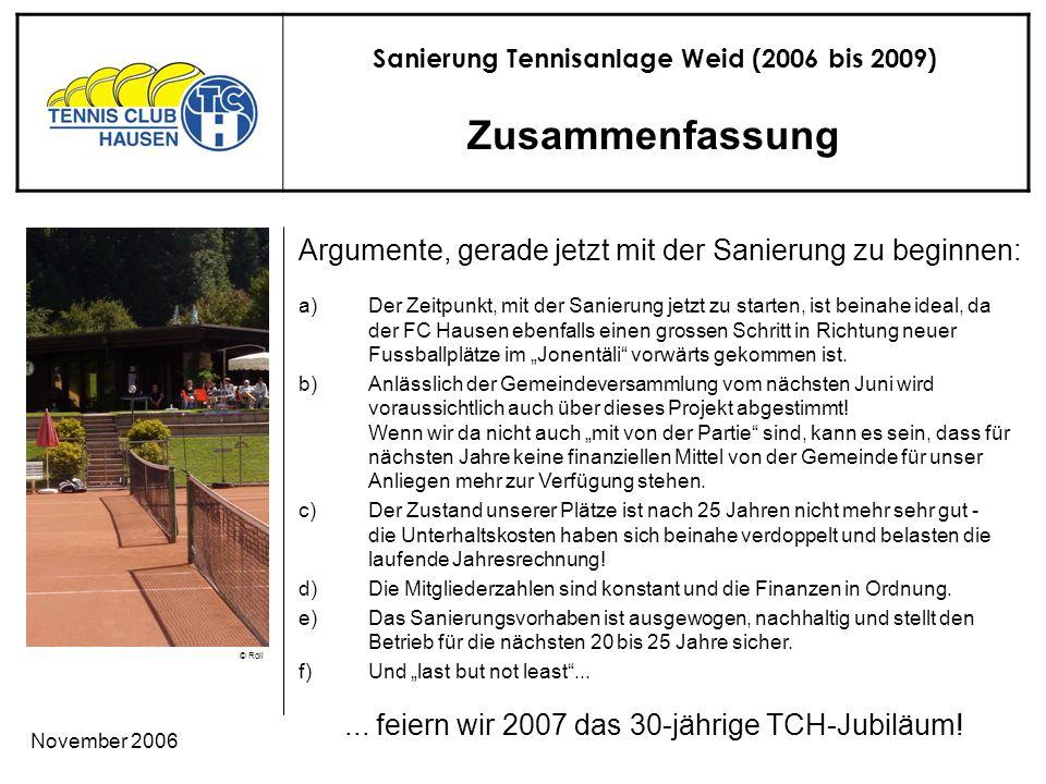 Sanierung Tennisanlage Weid (2006 bis 2009) © Roli November 2006 Zusammenfassung...