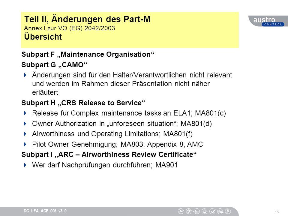 15 DC_LFA_ACE_005_v3_0 Teil II, Änderungen des Part-M Annex I zur VO (EG) 2042/2003 Übersicht Subpart F Maintenance Organisation Subpart G CAMO Änderu