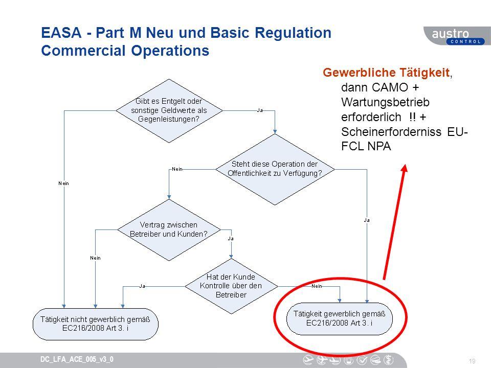 19 DC_LFA_ACE_005_v3_0 EASA - Part M Neu und Basic Regulation Commercial Operations Gewerbliche Tätigkeit, dann CAMO + Wartungsbetrieb erforderlich !!