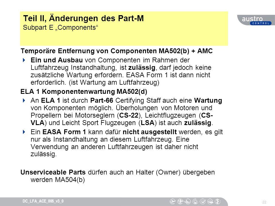 22 DC_LFA_ACE_005_v3_0 Teil II, Änderungen des Part-M Subpart E Components Temporäre Entfernung von Componenten MA502(b) + AMC Ein und Ausbau von Comp