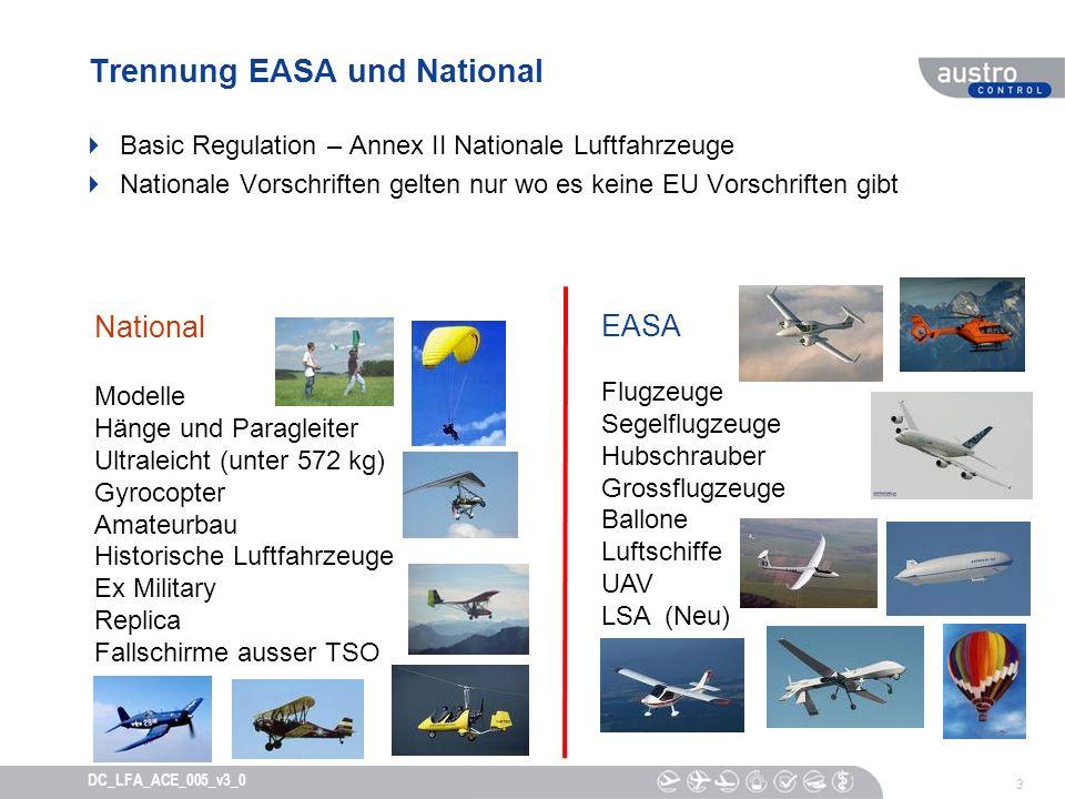 3 DC_LFA_ACE_005_v3_0 Trennung EASA und National Basic Regulation – Annex II Nationale Luftfahrzeuge Nationale Vorschriften gelten nur wo es keine EU