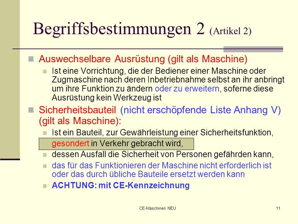 CE-Maschinen NEU11 Begriffsbestimmungen 2 (Artikel 2) Auswechselbare Ausrüstung (gilt als Maschine) Ist eine Vorrichtung, die der Bediener einer Masch